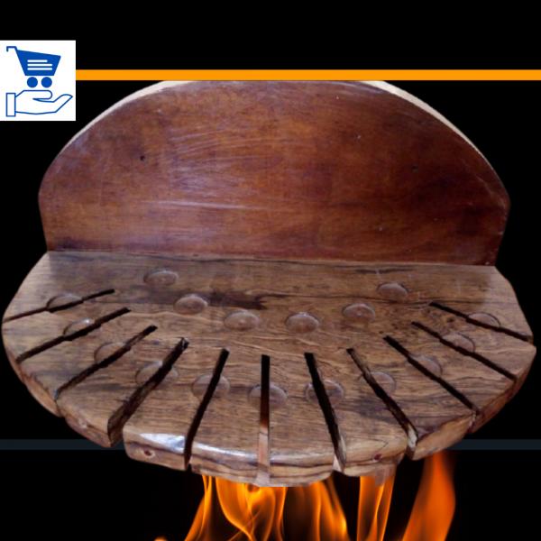 RVZ4 Suporte para espetos de churrasco de madeira